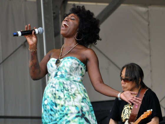 Erica Falls onstage with June Yamagishi at Jazz Fest 2017 [Photo by David Stafford]