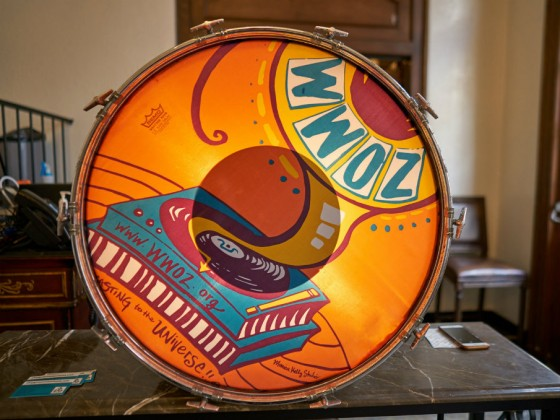 WWOZ bass drum [Photo by Eli Mergel]