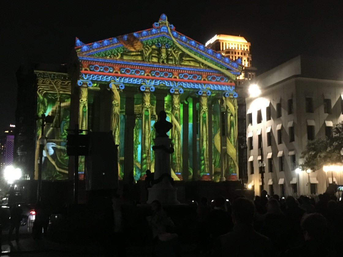 Luna Fete on Gallier Hall [Photo by Carrie Booher]
