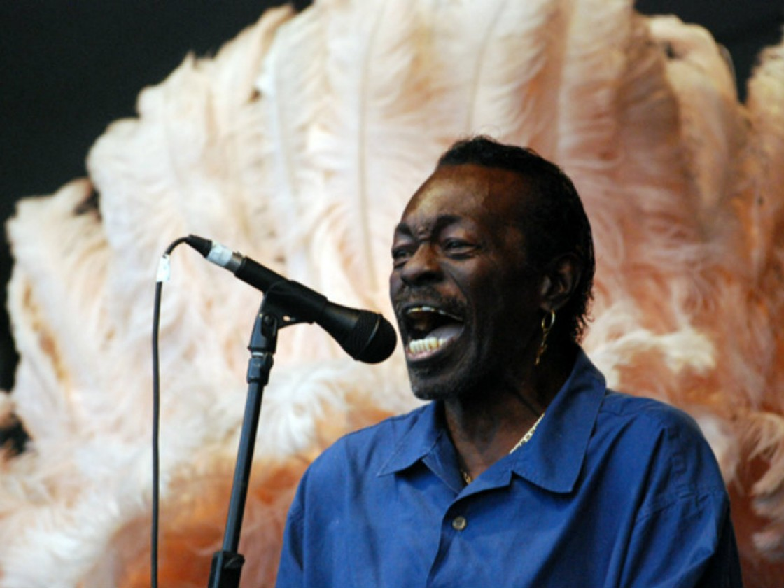 Big Chief Bo Dollis, Sr. onstage at Jazz Fest 2010 [Photo by Hunter King]