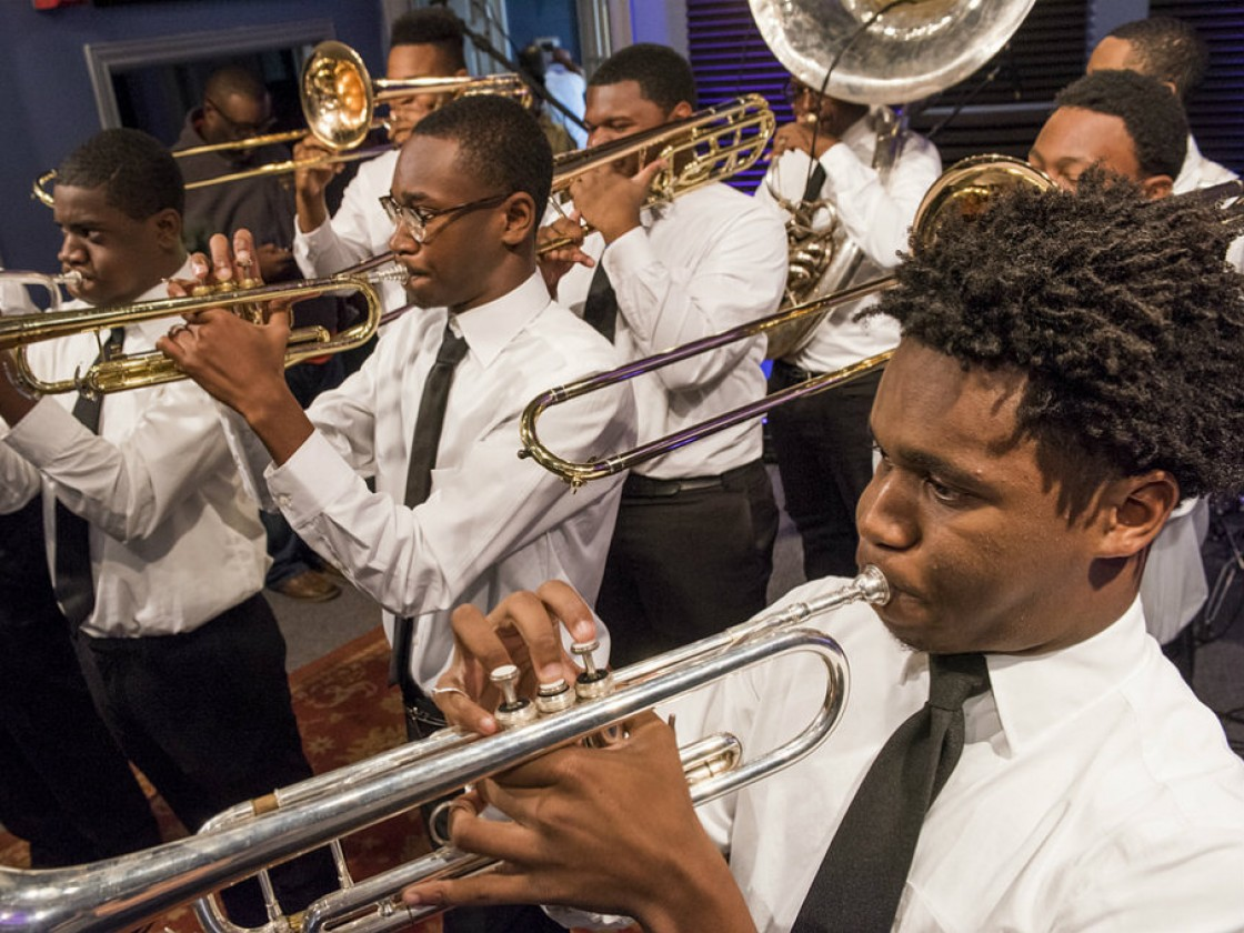 The Chosen Ones Brass Band from Landry-Walker at WWOZ in 2017 [Photo by Ryan Hodgson-Rigsbee]