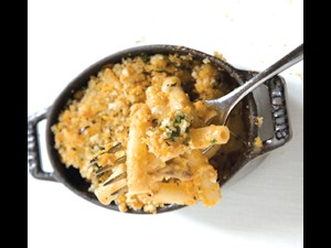 Housemade Macaroni with Cheddar Velouté and Pulled Pork