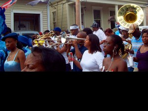 Philip Frazier leads the Rebirth Brass Band at the Original Lady Prince of Wales second line in October, 2008
