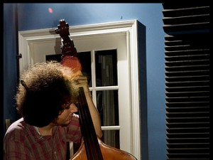 Jesse Morrow in the WWOZ live broadcast studio. Photo by Ryan Hodgson-Rigsbee.
