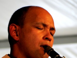 Evan Christopher at Jazz Fest 2012. Photo by Eric Hartman.