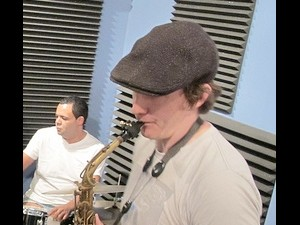Rex Gregory playing at WWOZ with Stephen Gordon on drums. Photo by D. Barracks.