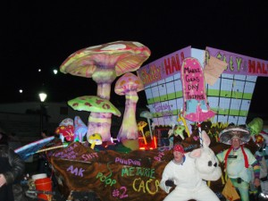 Krewe du Vieux float and paraders of mushrooms and mushroom food.