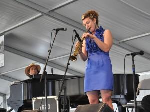 Tom McDermott & Aurora Nealand performing at Jazz Fest 2013