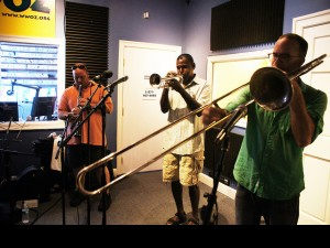 Charlie Halloran (right) performing with the Palmetto Bug Stompers at WWOZ
