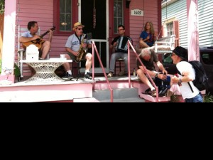 The Wild Anacostias front porch band on N. Lopez.