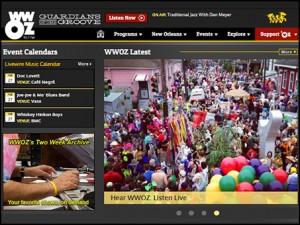WWOZ Home page