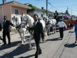Funeral second line for Edwin Harrison on October 21, 2016 in Treme [Photo by Ryan Hodgson-Rigsbee]