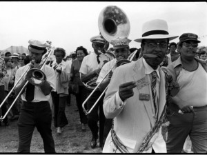 Danny Barker leading the Onward Brass Band at the New Orleans Jazz & Heritage Festival 1974 [Photo by Michael P. Smith, courtesy The Historic New Orleans Collection]