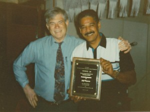 Former WWOZ General Manager David Freedman and Jeff Duperon in 1996