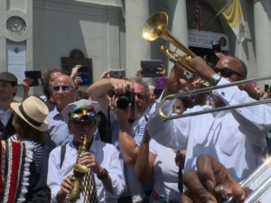 Scene outside the St. Louis Cathedral following Pete Fountain's funeral on August 17, 2016