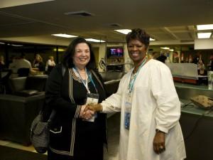 Carol Solomon with Irma Thomas [Photo by Ron Calamia for People's Health]