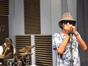 J.D. Hill with drummer Joe Lastie at WWOZ in 2016 [Photo by Kichea S. Burt]