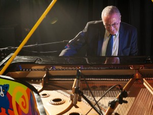 Joe Krown on the 'Blue Dog' piano at Piano Night 2015 [Photo by Ryan Hodgson-Rigsbee]
