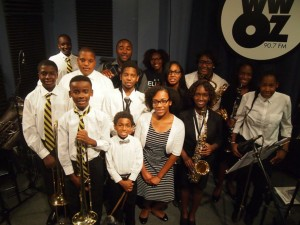Keith Hart (back middle) with his KIPP Believe College Prep Jazz Ensemble, October 2016