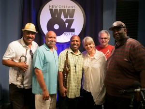 Roderick Paulin (in yellow) with his band and show host Sally Young at WWOZ [Photo by Ken Maldonado]
