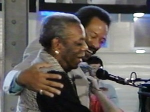 Champion Jack Dupree and Allen Toussaint performing together at the Heritage Stage, Jazz Fest 1990