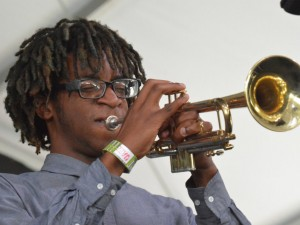 A student from NOCCA Jazz Ensemble onstage at Jazz Fest 2016 [Photo by Kichea S. Burt]