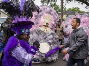 9th Ward Hunters Big Chief Romeo during Downtown Super Sunday 2018 [Photo by Ryan Hodgson-Rigsbee]