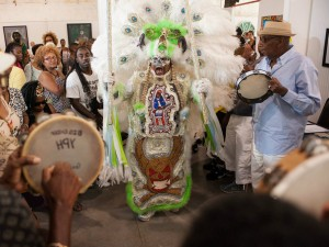 Creole Wild West Wild Man at Mardi Gras Indian Hall of Fame at the Ashe Cultural Arts Center in New Orleans, summer 2015 [Photo by Ryan Hodgson-Rigsbee]