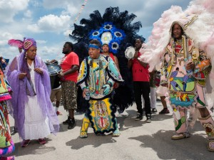 Ninth Ward Hunters with Guardians of the Flame Maroon Queen Cherice Harrison-Nelson at Jazz Fest 2016 day 3 [Photo by Ryan Hodgson-Rigsbee]