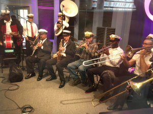 Eureka Brass Band at WWOZ March 15, 2017 [Photo by Carrie Booher]