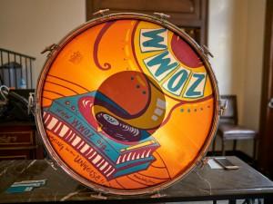 WWOZ bass drum [Photo by Eli Mergel]