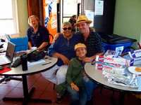 Big D with WWOZ volunteers Betty Jane Schlater and Melissa and Matt DeOrazio.
