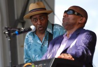 Butler impressing his guitarist at Jazz Fest 2009 [Photo by Hunter King]