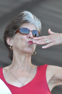 Ball blows a kiss to the crowd at Jazz Fest 2012 [Photo by Kichea S. Burt]