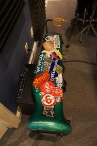 Charlie Halloran's trombone case has seen some miles [Photo by Bill Sasser]