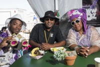 A member of Ole & Nu Style Fellas, Action Jackson, and Maroon Queen Cherice Harrison-Nelson at Jazz Fest 2019 [Photo by Ryan Hodgson-Rigsbee]